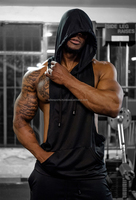 Get your Custom made black hoodie top Cheap Price body building gym singlets tank tops undershirts for men vest wear