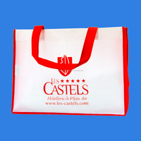 CASTELS HOTEL BAG WITH white film red ink sewing bag with bias pp non woven bag