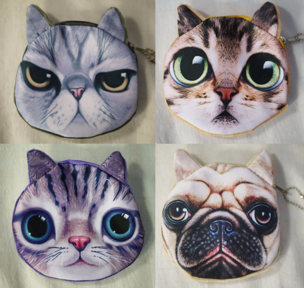 Wholesale 3D Cat Dog Face Coin Purse Wallet Women Lady Girl Bag