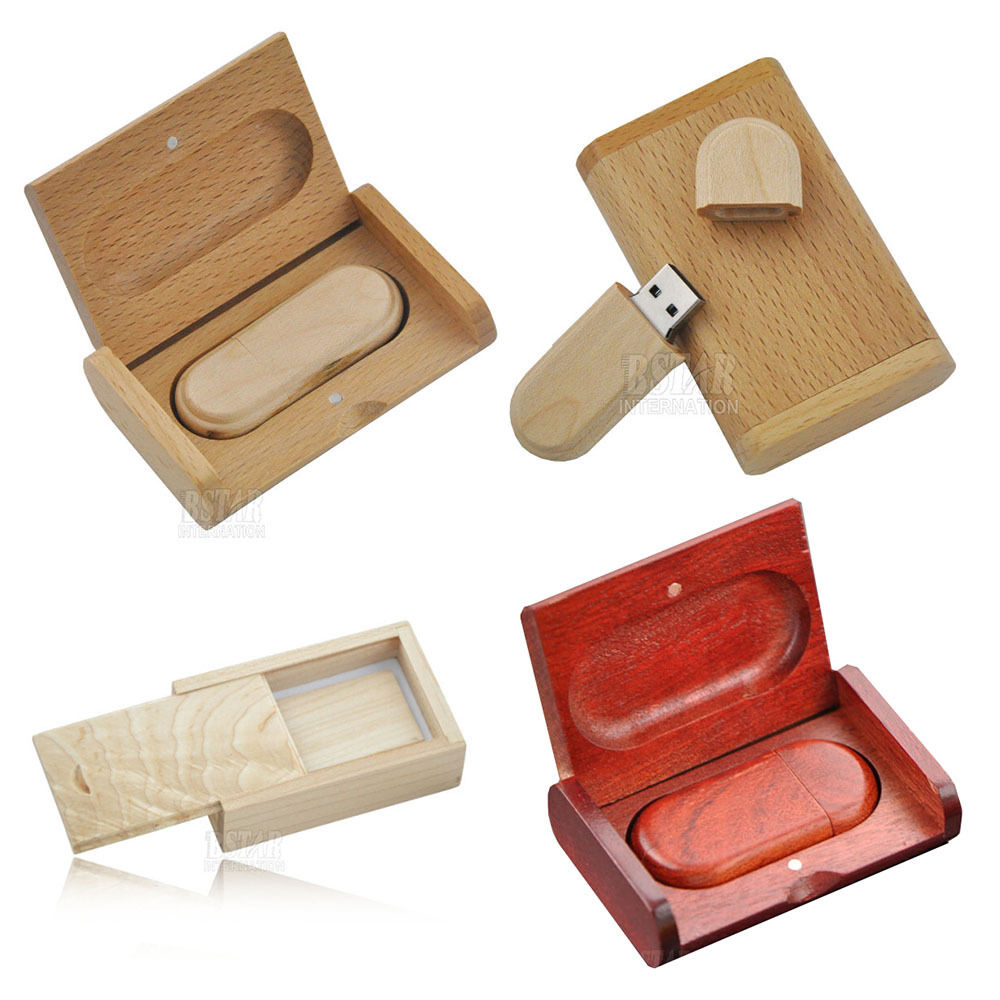 4GB 8GB 16GB Wooden Box USB 2.0 Memory Stick Flash Drives Flash Key Pen Drive