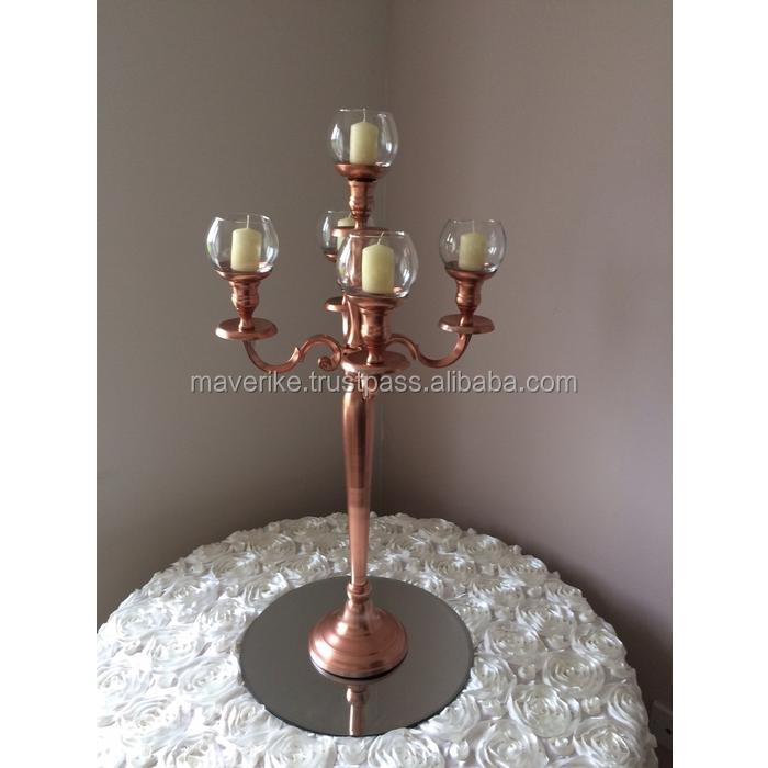 Rose Gold Candelabra with glass hurrican , Copper Candelabra For Wedding Decoration, Candle Holder Centerpiece