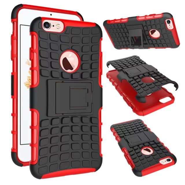 Cell Phone hybrid cover Case Protective Back Cover Durable Shockproof Rubber Armor Kickstand Hard Stand For iPhone 6/6S/6 Plus