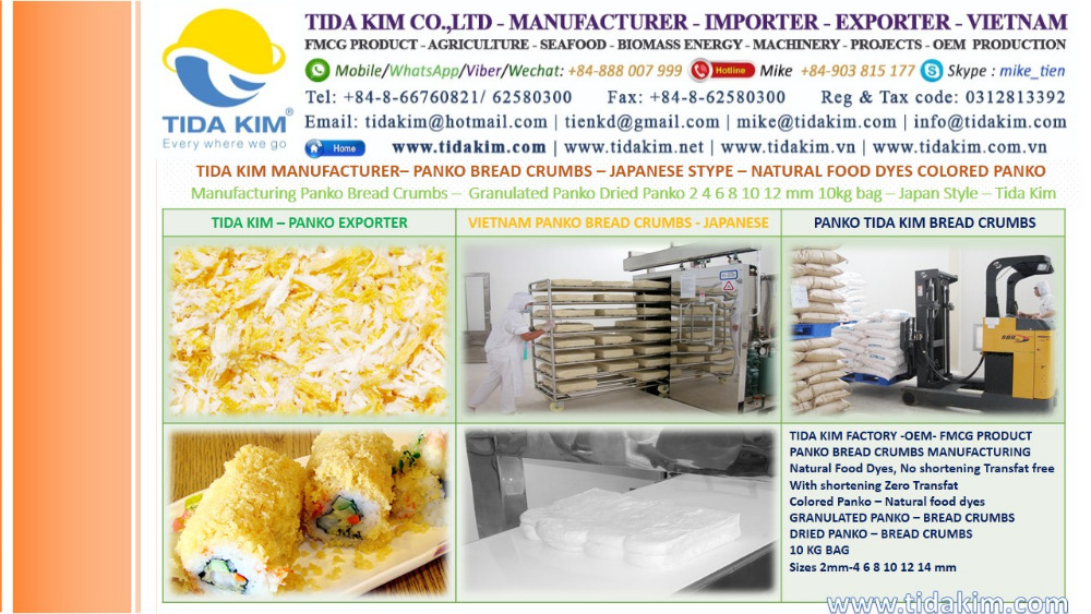 BREAD CRUMBS PANKO JAPANESE STYPE FOOD DYES COLORED PANKO TIDA KIM MANUFACTURER MANUFACTURING GRANULA PANKO BREAD CRUMBS