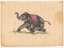 Indian Miniature Royal Elephant Water Color Paper Painting Ethnic Wall Decor Art