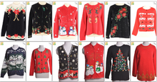 JOB LOT OF 20 VINTAGE UGLY CHRISTMAS SWEATSHIRTS - Mix of Era's, styles and sizes (19245)
