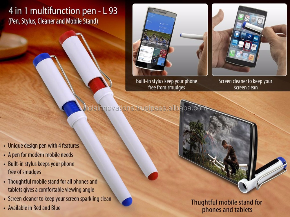 4 in 1 pen with mobile stand cleaner and stylus