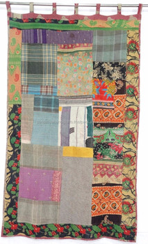 Vintage Kantha Patchwork Curtain, Patchwork Curtain, Sari Kantha Curtain