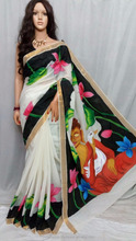 hand paint Kerala cotton saree