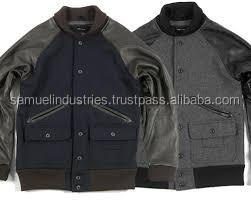 Cheap promotional jackets\Angel Cola Black & Black Retro Varsity Wool & Synthetic Leather Letterman Jacket