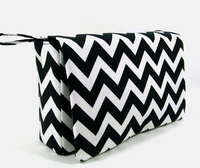 Chevron diaper bag, baby bag organizer, black diaper clutch, diaper purse with clear zipper pouch