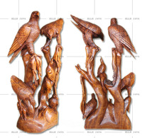 Wooden Craft 2 Eagles with 3 babies handcarved home decoration