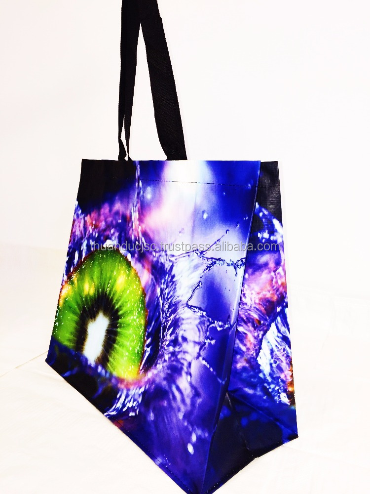 Custom full color Recycled laminated PP woven bag
