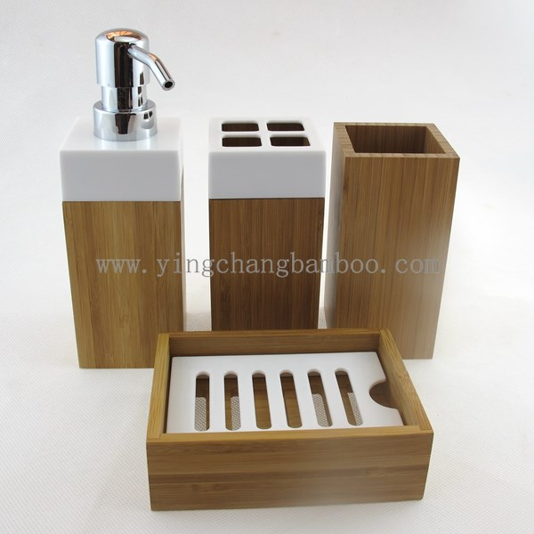 Cheap bamboo wooden bathroom accessories set buy wooden for Cheap bathroom sets