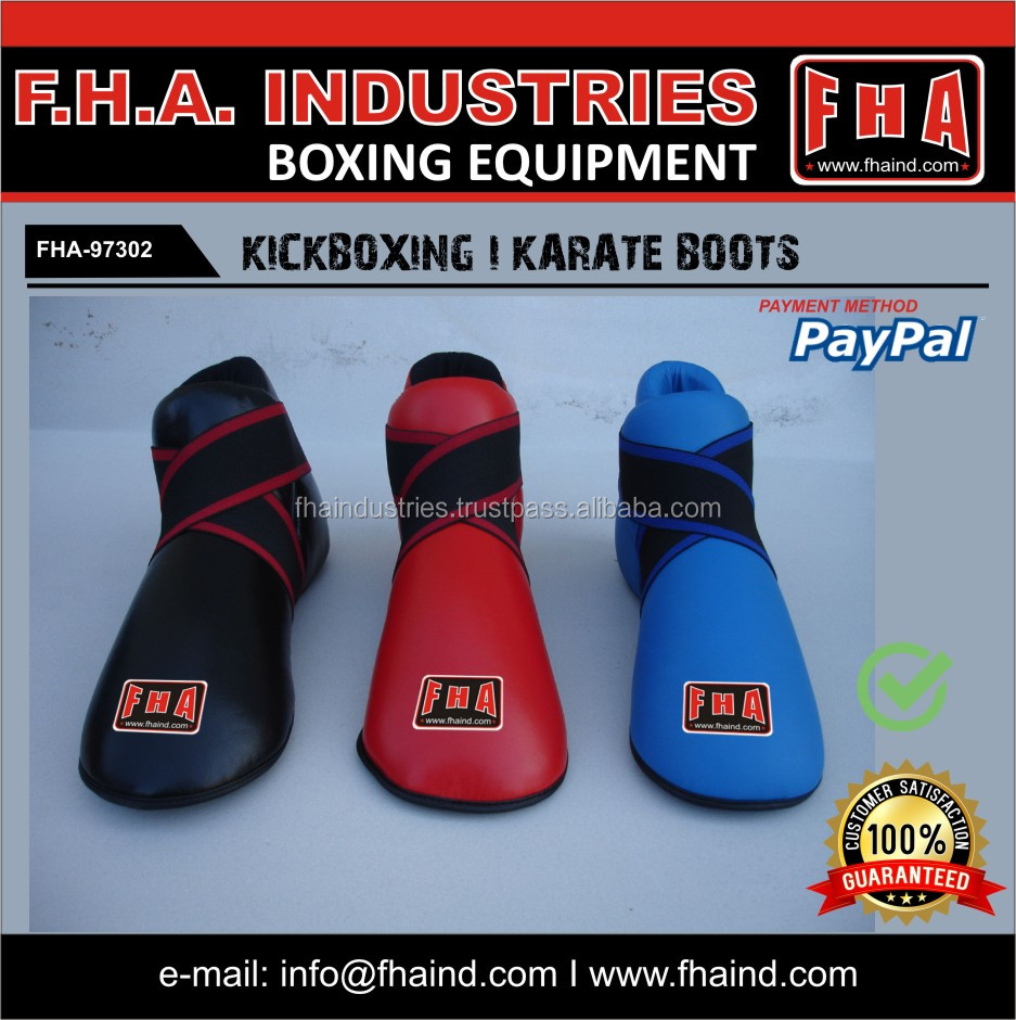 Karate Boots / Foot protector / PU / Leather / Karate Protective Equipment / WKF Approved Gear / By FHA SIALKOT PAKISTAN