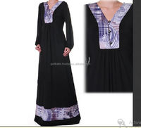 Best Hand Design Printed On neck And Hand Royal Black V-Neck Jersey Long Sleeved Abaya Maxi Dress -Plus Size .Recently Made Dres