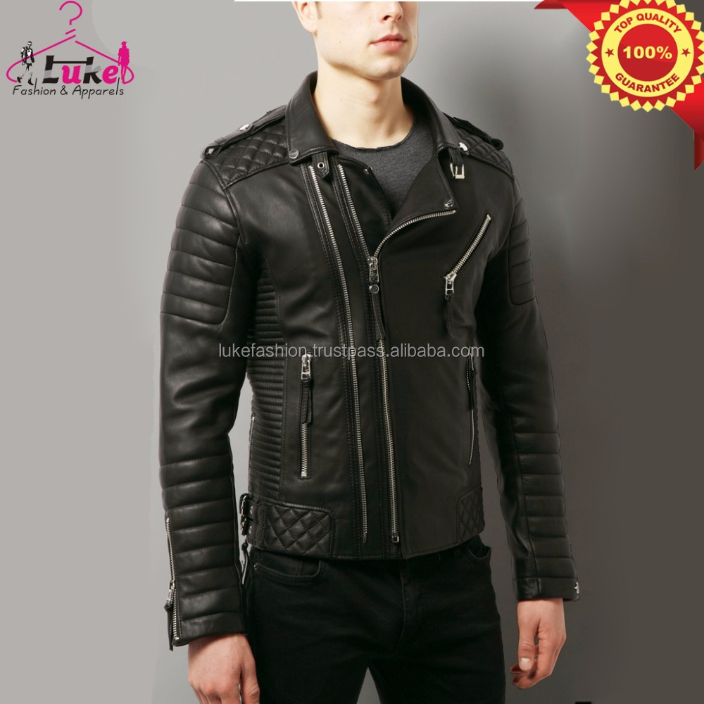 Men 100% soft lambskin quilted chief leather jacket with brass ykk zippers Canada