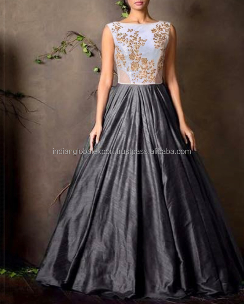 New White & Gray Colour Floor Touch Semi Stitched Designer Gown for women