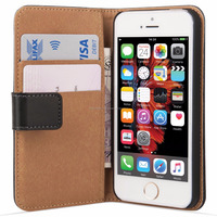 Wallet Case Cover Real Leather for iPhone SE - Black