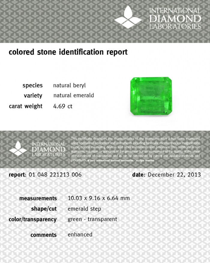 Emerald 4.69 ct For Sale in Dubai