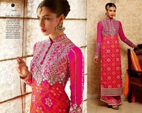 Designer stylish bridal collection straight long cut rose pink with heavy embroidered salwar kameez