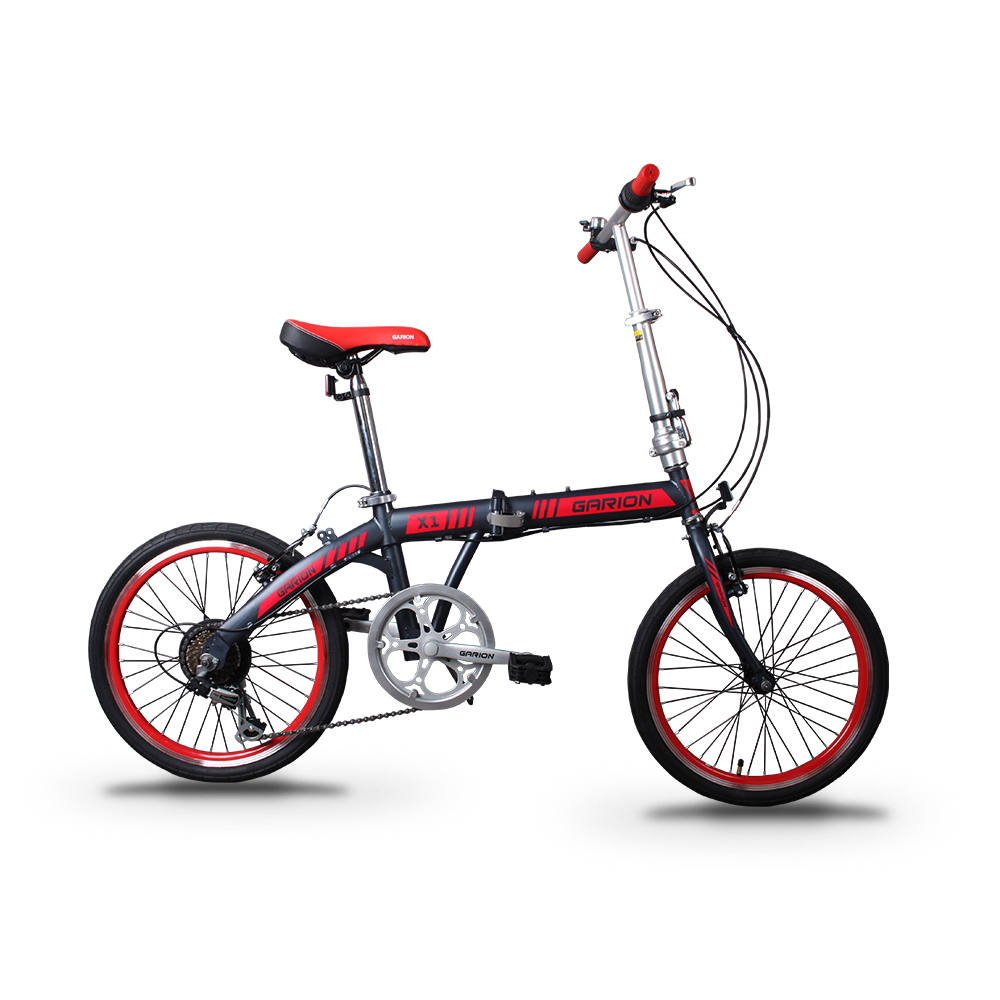 "GARION 20"" Folding Bike Foldable Bicycle Matte Grey with Red"