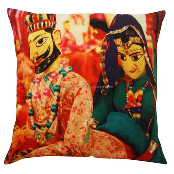 Indian Cushion Cover Multicolor Velvet Pillow Puppet Digital Print Cushion 24""