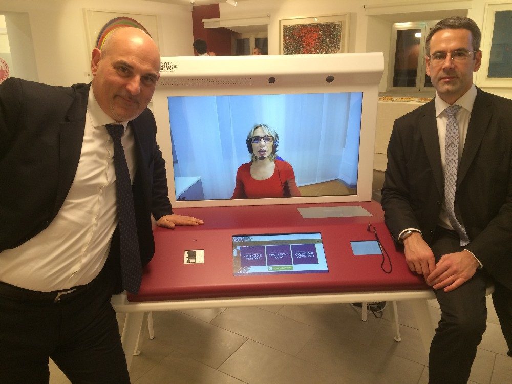 "NEW! Video Receptionist/Video Conciege Station + Video Chat Service Included- Italian Design/ Aluminium- 2 Displays (40""+15"")"
