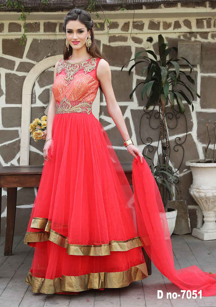 Orange color net gown with miror less border with fancy gown