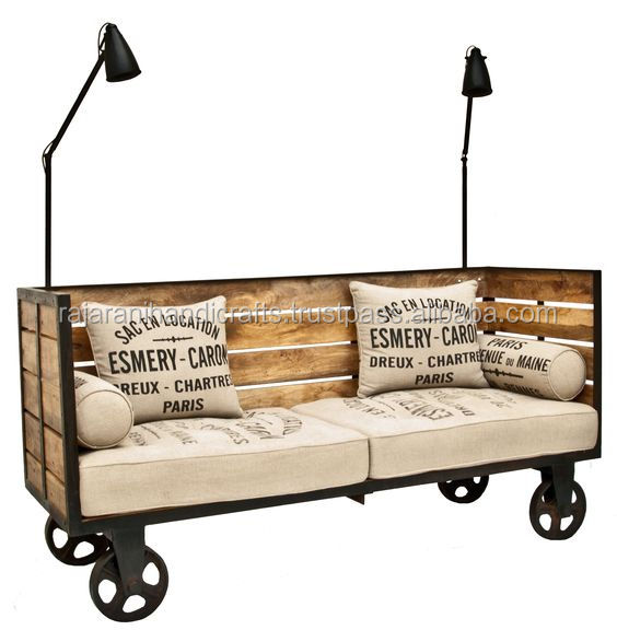 industrial & vintage iron metal & solid wood sofa cum day bed