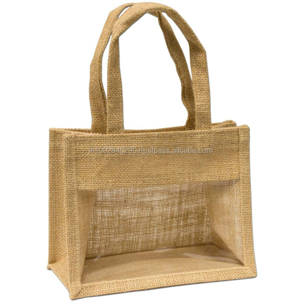 jute shopping bag with windows