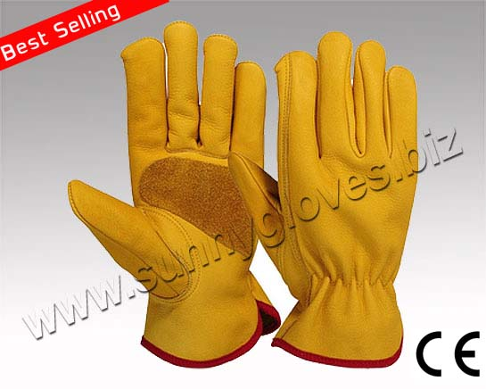 Yellow cowhide grain leather working driver safety gloves from Pakistan supplier ( SUNNY GLOVES ) , argon gloves, rigger gloves