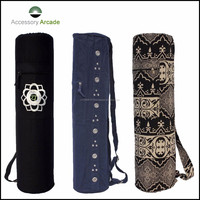 Custom Canvas Yoga Mat Bags with Zippered Pocket,Yoga Mat Bag Fabric Cotton Colourful Designer Printed