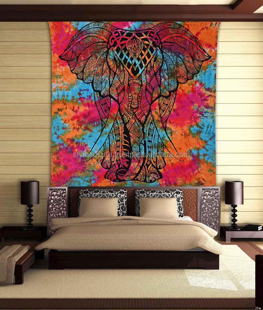 Big Elephant Wholesale Mandala Tapestry 100% Cotton Tie-Dye Orange Wall Hangings Bedspread Wall Hanging