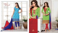 Designer ethnic embroidered casual chanderi sky blue & green salwar suit with fancy chiffon dupatta