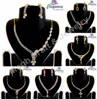 Wholesale american diamond jewelry-Cubic zircon bridal jewellery-Party wear delicate necklace set 2015