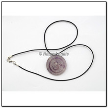 Buy Wholesale of Amethyst Embossed Om Disc Pendants