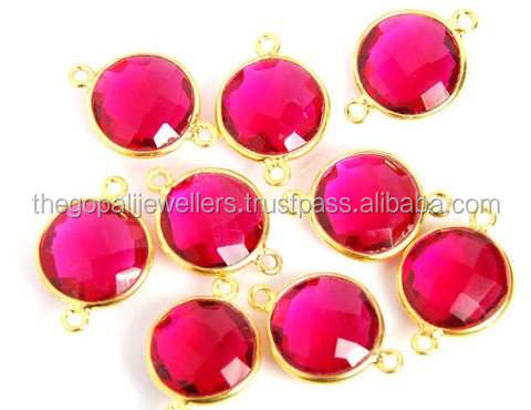 The Gopali Jewellers Wholesale Ruby Hydro Gemstone jewelry bezel connector round vermeil frame