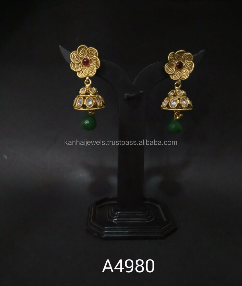 Antique Gold Plated Classic Jhumki - A4980