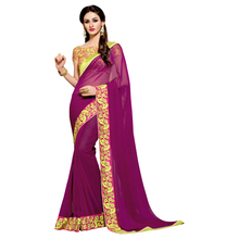 Elite Magenta Colored Border Worked Faux Georgette Party Saree