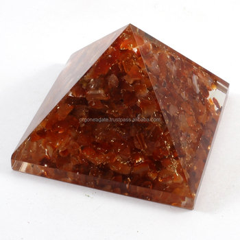 Reiki Pyramid : Big Orgone Red Carnelian Pyramid Without SBB Coil