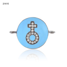 925 Sterling Silver Enamel Work Designer Connector Finding Wholesale Jewelry