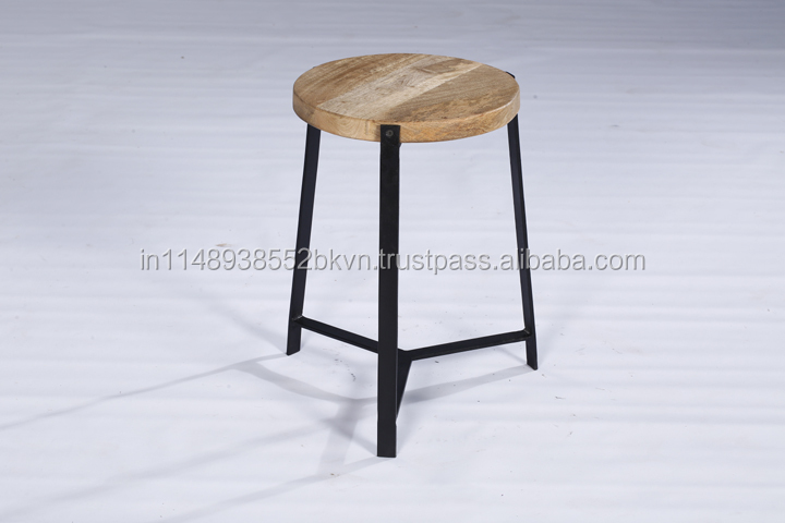Industrial Vintage Panel Wood Top Metal base Side Table