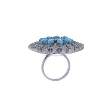 Diamond Pave Turquoise Gemstone Floral Rings, Sterling Silver Diamond Cocktail Rings, Diamond Jewelry Manufacturere