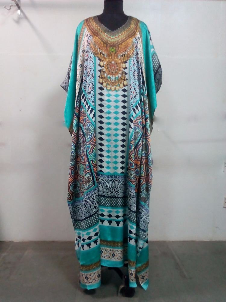 Fashion Digital Print Long Sleeve Pure Silk Satin Embellished Kaftan Customized Colours and Size