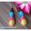 Handpainting Organic Wooden Earrings Ethnic Handmade