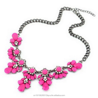 New Fashion Zinc Based Alloy Necklace Fuchsia Teardrop Flower Pendant Clear Rhinestone 1 Piece