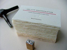 deckle edged handmade paper visiting cards with custom print,