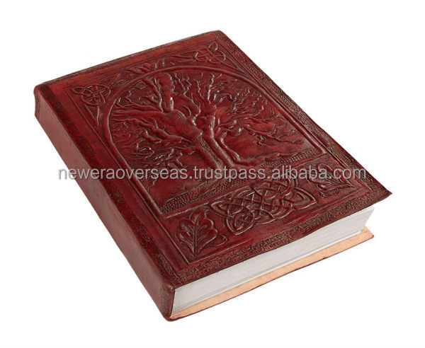 Tree Of Life Leather Embossed Journal 8 x 6 Diary Notebook Handmade