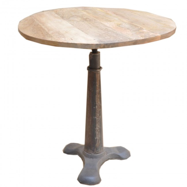 Solid Wood top metal industrial round Dining Table
