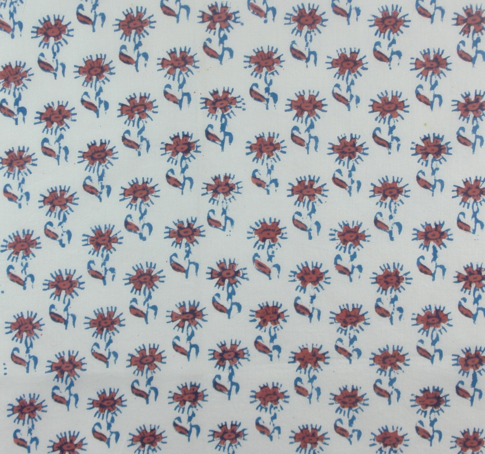 Organic Block Printed Cotton Fabric with vegetable dyes